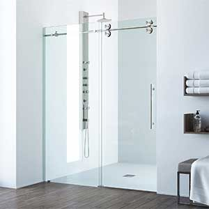 VIGO Elan Sliding Frameless Shower Door with 304 Stainless Steel Hardware